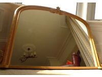 Large Carved Pine Overmantel Mirror
