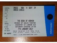 THE BOOK OF MORMON London Theatre Ticket 7/12/17