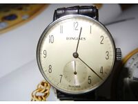 Vintage Mechanical Longines Watch from 1938-1939. Freshly serviced. Good condition.