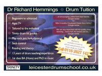 Drum lessons in Leicester - beginners to advanced, ages 7+ (including adults)