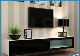 new in box vigo wall mounted tv unit whiteblack gloss