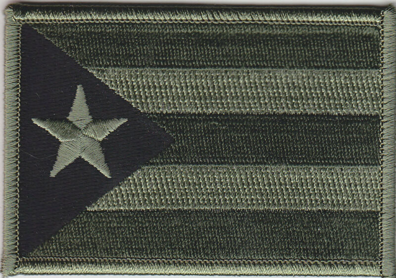 Puerto Rico PR Territorial Flag Patch OD GREEN/BLACK  (police/military)