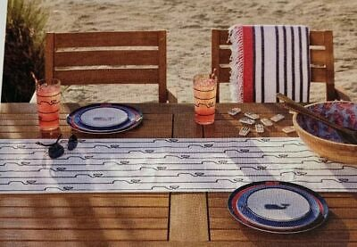 NEW Vineyard Vines Target Whale Line Table Runner Cloth - White & Blue FREE SHIP