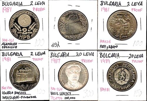 """6 BULGARIA """"PROOF"""" COINS 2 & 20 LEVA 1981-88 One Silver $4 S&H-USA!"""