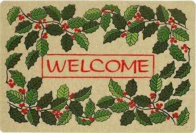 """OUTDOOR DOORMAT W/COIR (18""""x27"""") CHRISTMAS,LEAVES & HOLLY BERRIES,WELCOME,MOHAWK"""