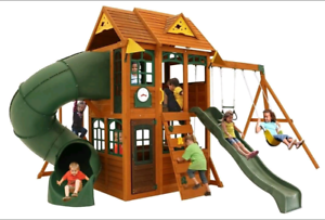 Cubby house swing set with slides