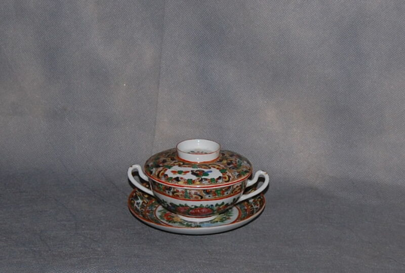 Chinese Export Porcelain Hundred Butterflies Covered Cup Saucer Rose Medallion