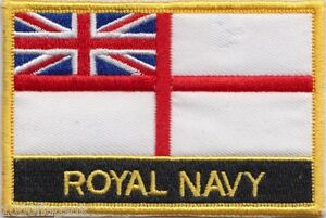 British Royal Navy White Ensign Flag Embroidered Patch Badge - Sew or Iron on