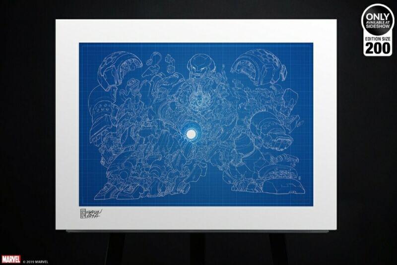Hulkbuster Blueprint Variant Sideshow Collectibles Fine Art Print New!