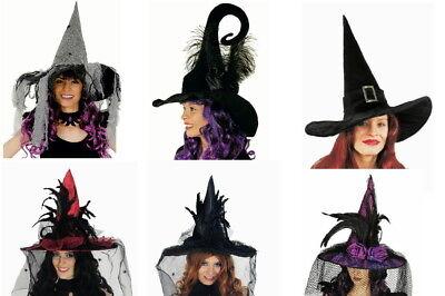Hexenhut f. Hexen Kostüm Hexe Zauberin Magierin Halloween Fasching Karneval NEU