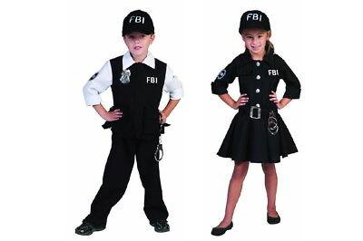 FBI Agent Agentin Mädchen Jungen Kinder Kostüm Kleid Anzug mit Cape Kappe  NEU