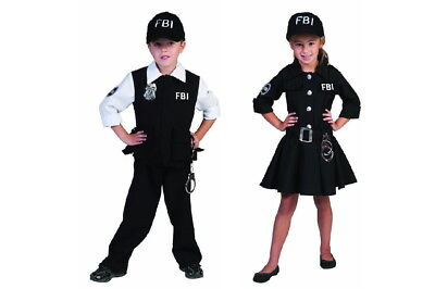 FBI Agent Agentin Mädchen Jungen Kinder Kostüm Kleid Anzug mit Cape Kappe  - Fbi Agent Kostüm Kinder