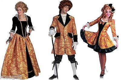 exklusives Barock Kleid Damen Herren Kostüm Rokoko schwarz gold kurz o. lang  (Barock Kleid Kostüm)