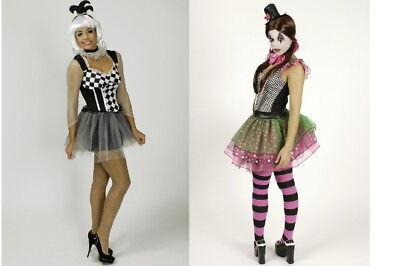 Clown Pierrot Harlekin Zirkus Kleid Damen Mädchen Kostüm Clownkostüm  NEU (Mädchen Zirkus Clown Kostüm)