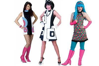 Damen Kostüm 70 er 60 er Jahre Hippie Retro Pop Disco Kleid sexy Minikleid NEU