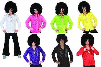 Rüschenhemd Herren Kostüm Party Show Hemd Disco 70 er Jahre Disco Hippie NEU