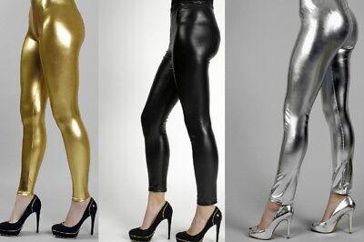 Leggins schwarz,gold,silber glänzend 70 er Jahre  für Damen Mädchen Kostüm NEU