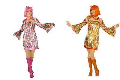 Damen Kostüm 70 er Jahre Hippie Retro Pop Disco Kleid pink o. orange Minikleid