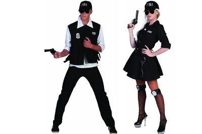 FBI Agent Agentin Damen Herren Kostüm Kleid Anzug mit Cap Kappe Karneval NEU