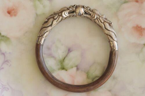 Vintage Chinese Double Dragon Sterling Silver Rattan Bangle Bracelet