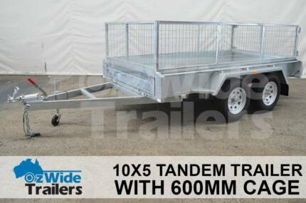 10x5 Tandem Trailer HIGH QUALITY with 600mm Cage