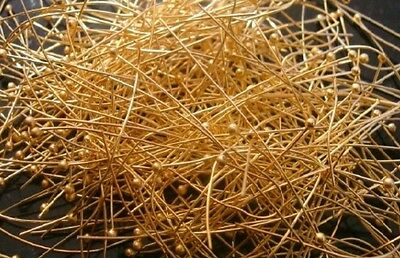 300 Gold plated copper ball head pins 2 inches long 22 gauge round wire fps076