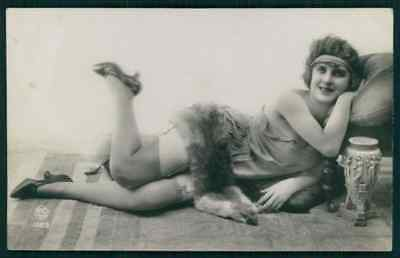 a Hairy Mink Fur risque photo french woman near nude original 1910-20s - Nude Hairy Women