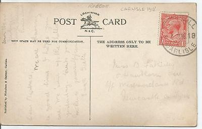 RUBBER POSTMARK CARLISE 1918 ON KING GEORGE V 1d RED  POSTCARD REF 145