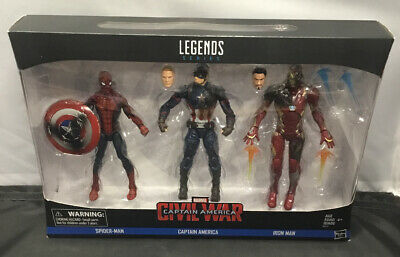HASBRO MARVEL LEGENDS CIVIL WAR IRON MAN SPIDERMAN CAPTAIN AMERICA FIGURE SET