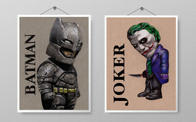 Batman & Joker Original Hand Drawn Pictures - Great Xmas Present