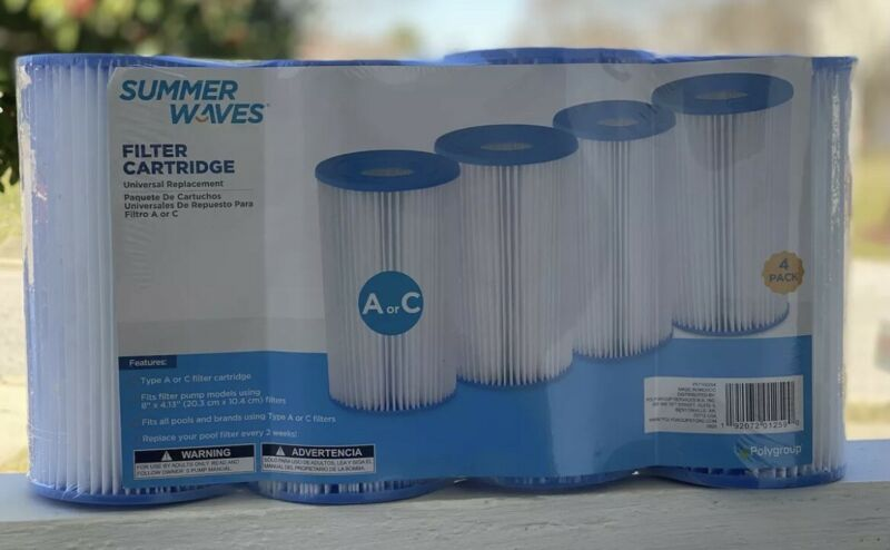 Summer Waves UNIVERSAL Pool Filter Cartridge Replacement TYPE A or C 4-PACK NEW