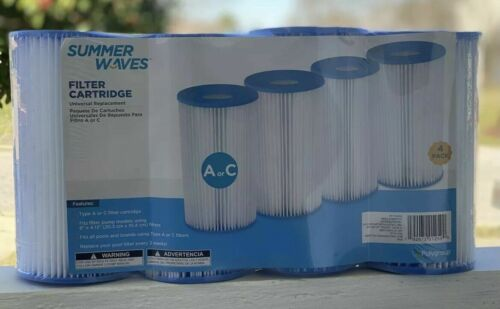 NEW Summer Waves UNIVERSAL Pool Filter Cartridge Replacement TYPE A or C 4-PACK