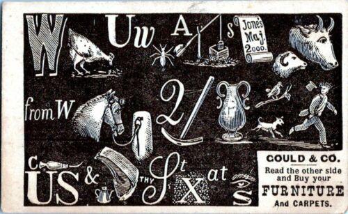 Gould & Co. Furniture Philadelphia PA Rebus Puzzle Victorian Trade Card 1880s