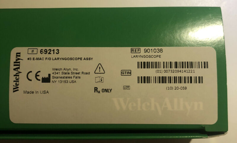 WelchAllyn 69213 #3 E-MAC F/O LARYNGOSCOPE ASSY