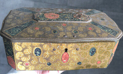 VINTAGE Metal Tea Tin with Lock with beautiful gold and flowers design