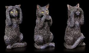 Drei-NERA-GATTI-Figure-Nichts-Boses-sehen-Sagen-HOREN-divertente-regalo