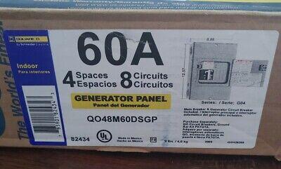 Square D Qo48m60dsgp 60-amp 4 Space 8 Circuit Generator Panel New