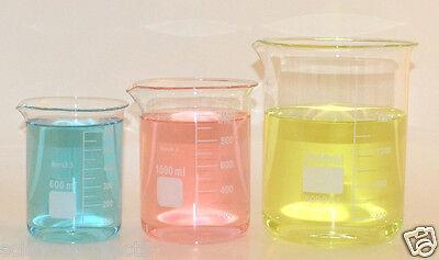 Beaker Set 2000 1000 600 Ml Griffin Borosilicate Glass Beakers Lab New