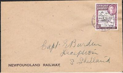 falkland islands 1/- thick map on 1947 newfoundland railway cover ?