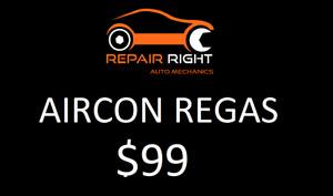 Car AirCon Regas for only $99
