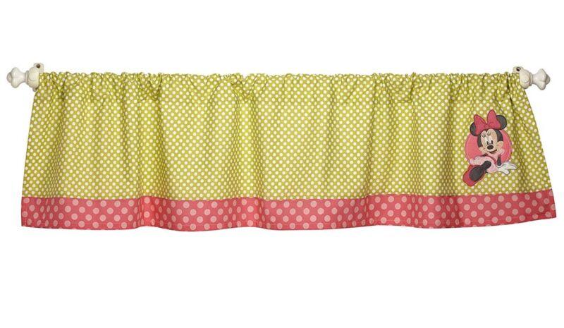 New Disney MINNIE Mouse Petal Perfect Window Valance Applique Green Pink DOTS
