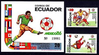 ECUADOR 1986 WORLD CUP SOCCER + S/S SC#1129-30a VF MNH FOOTBALL