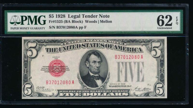 AC 1928 $5 Legal Tender PMG 62 EPQ B-A block Fr 1525