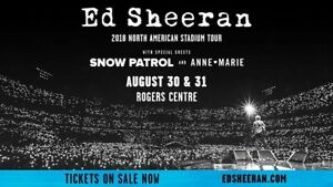 Ed Sheeran Toronto floor tickets- August 31st, 2018