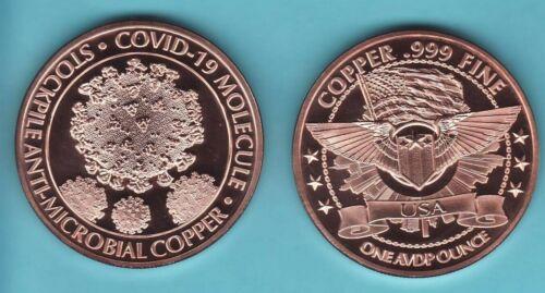 C - VIRUS  PANDEMIC 19 .  Copper Round Coin  1 AVDP oz.