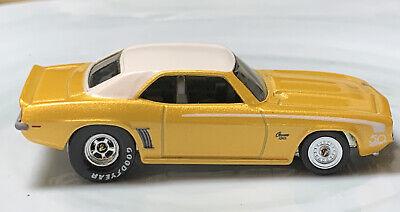 Hot Wheels '69 Chevy Camaro Yellow 1/64 Custom Wheel Swap Real Riders Chevrolet