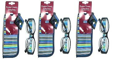2 Pairs Foster Grant Rainbow Reading Glasses With Case And Loop