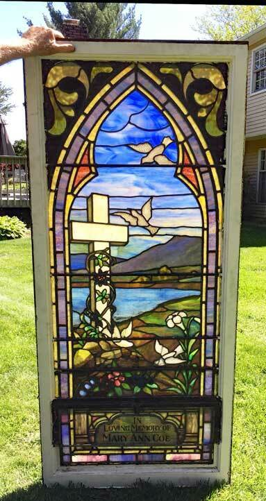 antique STAINED LEADED GLASS CHURCH WINDOW - ART GLASS - 1910