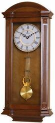 Verona Large Light Wooden Finish Wall Clock w/ Elegant Pendulum