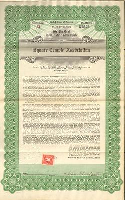 Square Temple Association > 1923 Chicago Illinois masonic bond certificate